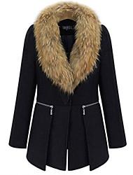 rlk gola de pele casaco de lã preto 5115