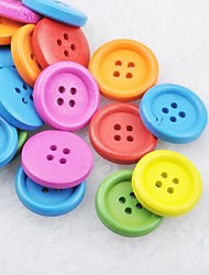 soild couleur album scraft coudre des boutons en bois de bricolage (10 pièces couleur aléatoire)