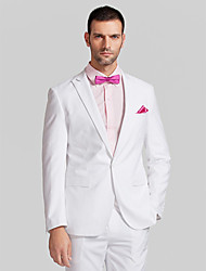 Suits Tailored Fit Slim Peak Single Breasted One-button Polyester 2 Pieces White Straight Flapped None (Flat Front) None (Flat Front)