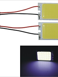 Carking™ T10 / BA9S / Festoon 28mm~40mm 3.4W 24-COB LED White Car Interior Dome Light(2PCS)