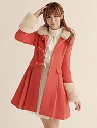 lã ts feminino combina casaco grosso com gola de pele destacável do falso