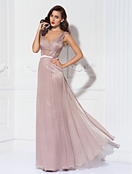 Formal Evening/Military Ball Dress - Pearl Pink Plus Sizes Sheath/Column V-neck Floor-length Lace/Tulle/Charmeuse
