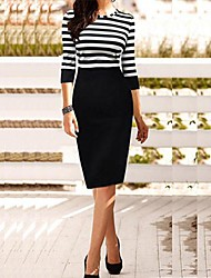 Women's Stripe Bodycom ¾ Length Sleeve Dress