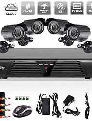 Liview® 4CH CCTV Full D1 H.264 DVR Motion Detection Security 600TVL Waterproof Night Vision Cameras