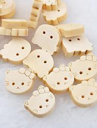 chat tête album scraft coudre des boutons en bois de bricolage (10 pièces)