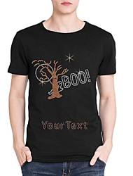 strass personalizado T-shirt do dia das bruxas padrão boo mangas curtas de algodão dos homens