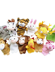 12PCS Chinese Zodiac Animal Plush Finger Puppets Kids Talk Prop