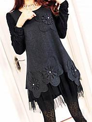 L&W Women's Lace Joint Tweed Dress