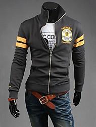 men'sstand cores da moda colar de lazer jaqueta de manga longa