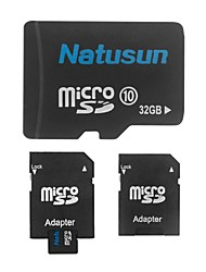 Natusun 32GB Class 10 MicroSDHC TF Memory Card and SDHC Adapter