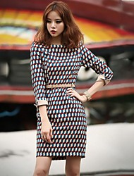 Women's Vintage Round Neck Dress , Polyester Multi-color Bodycon/Work