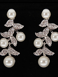 Silver Platinum Plating Leaves with Pearls Earrings