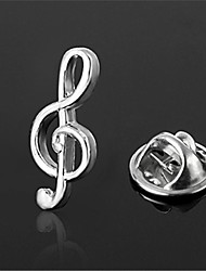 Musical Note Treble Clef Emblem Logo Silver Men's Lapel Pin Emblem Badge
