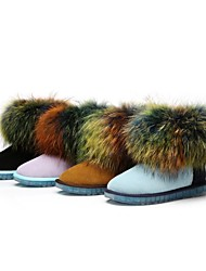 Women's Low Water Proof Fashional Thermal Boots with Big Nice Fox Wool