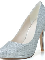 Feminino Wedding Shoes Saltos/Bico Fino Saltos Casamento/Festas & Noite Preto/Prateado/Dourado