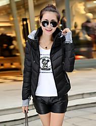 Feihong Women's Long Sleeve Slim Hoodie Down Jacket