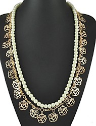 Vintage Bohemia Double Layers Pearls And Hollow Roses Long Strand Necklace
