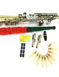 il sassofono soprano retrò rame piatta b (conchiglia abalone tubo chiave schemi corpo intaglia oi disegni sulla lavorazione del legno sax diritto)