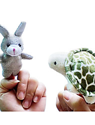 2PCS The Rabbit and the Turtle Story Animal Plush Finger Puppets Kids Talk Prop