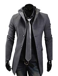 Reverie Men's Stand Collar Bodycon Tweed Long Coat