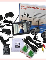"7"" LCD Wireless  Monitor 4 Channel Quad Security System DVR With 2 Cameras"