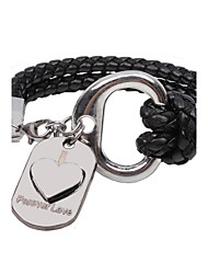 Lureme®European Style Men's Serpentine Weave Heart  Titanium Steel Bracelet