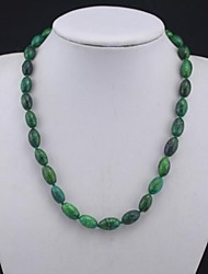 Toonykelly®Fashionable Natural Real Green Stone Bead Necklace(1 Pc)