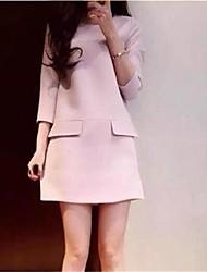 sencilla un mini vestido de manga 3/4 línea de las mujeres