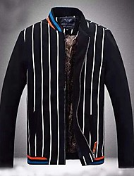 Men's Stand Collar Korean Casual Zipper Vertical Striped Jackets