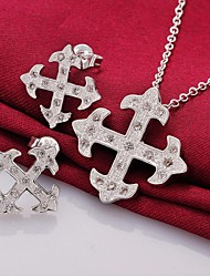 passage de mode en argent plaqué (comprend collier&boucle d'oreille) ensemble incrusté de zircon de bijoux (1 jeux)