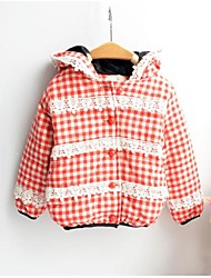 Girl's Plaid Lace Fleece Lining  Hooded  Outer