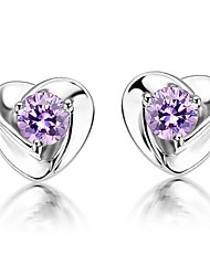 Fine Jewelry 925 Sterling Silver Zircon Heart Earrings 1 Pair