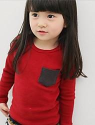 Tee-shirts Fille de Couleur Pleine Mélange de Coton Hiver / Printemps / Automne Bleu / Rouge / Gris