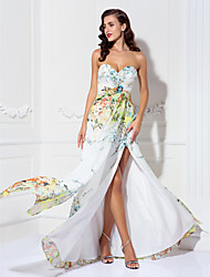 A-line Sweetheart Floor-length Chiffon Evening Dress (927291)