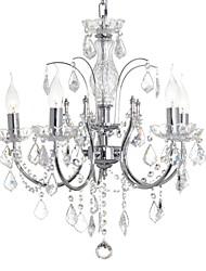 Crystal Chandelier 5 Lights Luxury Chrome Metal.
