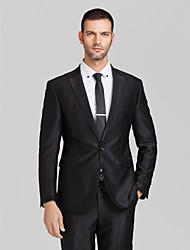 polyester noir coupe près du corps costume deux pièces