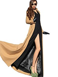 Women's Stand Collar Full-Length Maxi Tweed Trench Coat(More Colors)