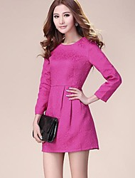 Women's Solid Pink/White/Black Dress , Casual/Work Round Neck Long Sleeve