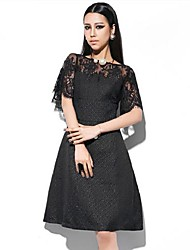 Women's Solid/Lace Black Dress , Sexy/Casual/Party Crew Neck Short Sleeve