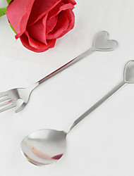 Heart Shaped Stainless Spoon And Fork Set(2 Pieces)