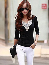 CoCo Zhang Women's Round Neck Lace Long Sleeve Blouse