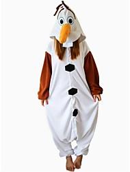 kigurumi Pyjamas Bonhomme de neige Collant/Combinaison Fête / Célébration Pyjamas Animale Halloween Blanc Mosaïque Polaire Kigurumi Pour