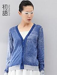 Women's Blue/Yellow Cardigan , Casual Long Sleeve