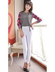 color del caramelo de la moda los pantalones flacos de la alta cintura de doble cremallera de las mujeres Mengjie