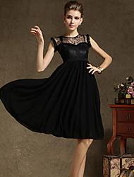 Simplicidade Pura Cor balanço vestido sem mangas Chiffon Maxi TS
