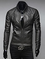 UOMO  Men's Collar Locomotive Leather Jacket