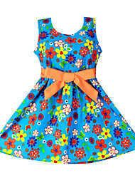 Children's Blue Floral Belt Party Birthday Casual Clothes Girl Princess Dresses