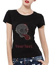 personalizado t-shirt do crânio de prata algodão mangas curtas padrão das mulheres
