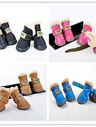 Candy Color PU and Suede Furry Lining Boots for Pet Dogs (Assorted Colors, Assorted Sizes)
