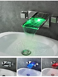 charmingwater chromé contemporaine changement de couleur de LED (support mural) cascade lavabo robinet